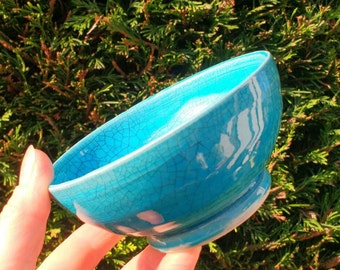Blue Pottery Sugar Bowl - Raku effect - Earthenware Ceramics - Made in UK - Perfect Wedding Gift idea