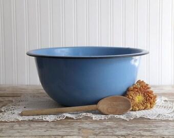 Vintage Blue Enamelware Bowl, Blue Enamel Mixing Bowl, Farmhouse Kitchen Bowl, Country Kitchen Bowl, Rustic Blue Mixing Bowl