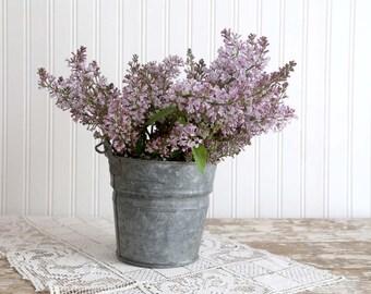 Vintage Galvanized Pail, Small Galvanized Bucket, Vintage Farmhouse Decor, Country Home Decor, Primitive Pail,