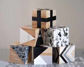 Monochrome Baby Blocks / Wooden Blocks / Nursery Decor / Metallic Painted Blocks / Playing Blocks