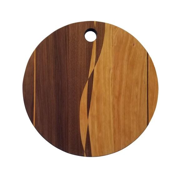 Round Cutting Board with Black Walnut and Cherry