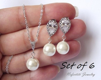 pearl bridesmaid gift set of 6 cubic zirconia & pearl bridesmaid jewelry set of 6 pearl wedding jewelry bridesmaid earring and necklace