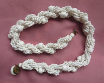 Chunky Twisted Braided White Beaded Choker Necklace Click Clasp