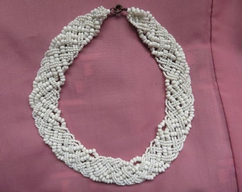 Flat Multi Briaded White Coral Bead Necklace