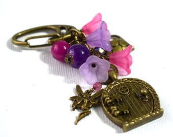 Fairy Door Bag Charm - Fairy Door Purse Charm - Fairy Gifts - Faerie Accessories - Gifts for Her - Flower Fairy Bag Charm - Birthday Gifts