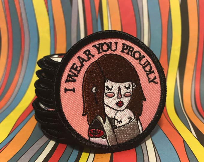 I Wear You Proudly, Baby wearing patch. 2 inches in size, iron on back.