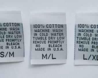500 pcs White Woven Clothing Labels, Care Label - 100% COTTON - S/M, M/L, L/XL