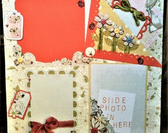 12 x 12 Premade Scrapbook Page of Daisies and Ladybugs