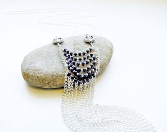 Statement Necklace, Lapis Lazuli, Blue Necklace, Waterfall Necklace, Boho, Gemstone Jewellery, Fringe Necklace, Long Necklace, Tribal, Chain