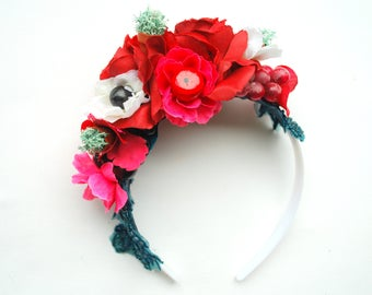 Frida Kahlo Bridal Flower Headband, Bohemian Crown Halo, Grape, Red Pink Flower Headband, Weddings Hair Accessories, Carmen Miranda, Prop