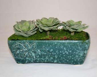 Vintage Ceramic Planter, Succulent Planter, Oblong Planter