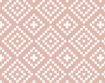 Pink Lozenges Double Gauze Fabric, Nordic Camelot Cottons