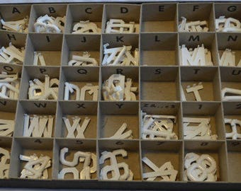 "Vintage 3/4"" Soda Bulletin Board White Alphabet Letters and Numbers in Original Box"