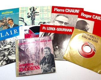 9 French 45rpm Records, Vinyl, Vintage French Music, French Jazz Music, French Politcal Philosophy