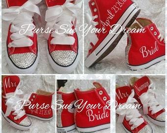 Personalized Custom Bridal Crystal Converse Wedding Shoes - Swarovski Crystal Wedding Shoes - Swarovski Converse Wedding Shoes - Bride To Be
