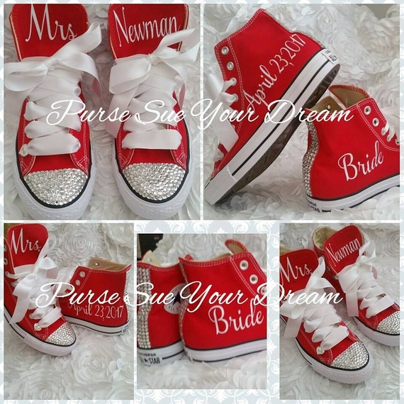 Personalized Wedding Slippers Bridal Party Slippers: Personalized Custom Bridal Crystal Converse Wedding Shoes