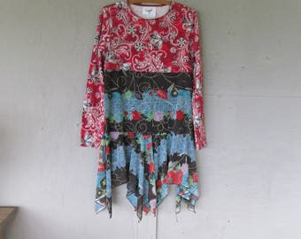 medium upcyled dress recycled clothing repurposed fun clothes Artsy Bohemian Lagenlook eco reclaimed sustainable clothing LillieNoraDryGoods