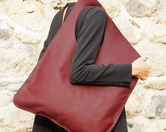 NEW Genuine Leather Burgundy Bag / High Quality  Tote Asymmetrical Tote  Bag by AAKASHA A14478