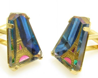 Eiffel Tower Cufflinks Vintage Reverse Painted Crystal Arts of the World Paris Jewelry H847