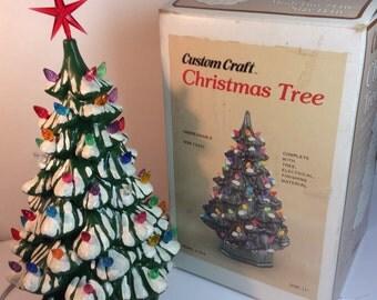 Vintage Lighted Plastic Christmas Tree Custom Craft