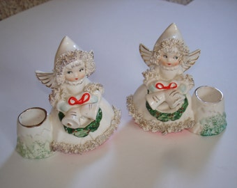 Vintage Commodore Angel Candle Holders Spaghetti Trim Nice Set