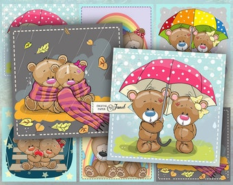 Sweet Teddy Bears - set of 6 cards - digital collage sheet - Printable Download