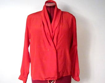 1980s Red Long Sleeve Blouse with Unstructured Fold Collar and Pintucked Cuffs - Large Size 14 - vegan fashion