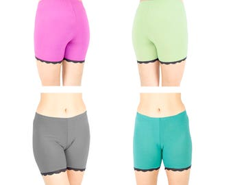 Bamboo Biker Shorts Lace Trimmed Modesty Pants Organic Underwear Solid Colors SET of 2