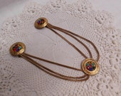Unusual Vintage Sweater Clips Guards Multi Color Rhinestones Gold tone Engraved Discs Center Medallion Chain Link Necklace Dress Ornament