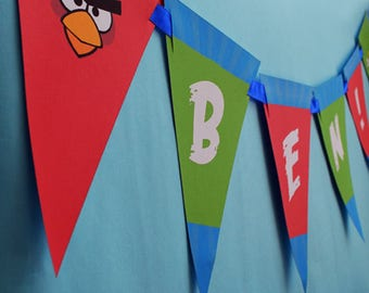 Angry Birds Birthday Banner, Angry Birds Banner, Angry Bird Printable, Angry Birds Party Decor, Angry Birds Flag, Bunting, Signs