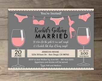 Wine and Lingerie Shower • Bridal Shower • Bachelorette Party Invites • Invitations • Wine Tasting