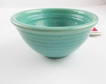 A 'Bauer' Los Angeles No. 36 Bowl - Horizontally Ringed Teal Blue Mixing Bowl - Small Bowl - Teal Glaze - Farmhouse Chic - Bauer, LA