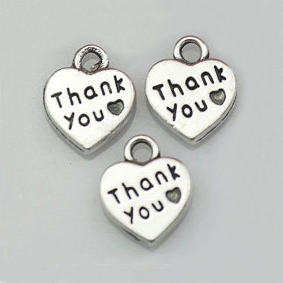 Thank You Charms Heart Charms Wedding Favor Charms Antique