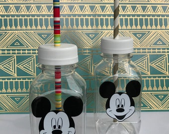 1- Mickey Mouse 8 oz Vinyl Cup Plastic Milk Bottles with without Hole in Lid