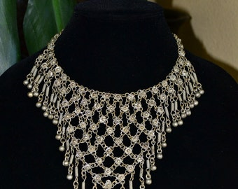 Vtg 70's India belly dance floral gypsy ethnic tribal dangle bells antique silver tone chain maille bib choker high fashion necklace