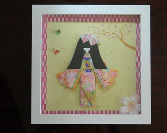"Japanese paper doll, 9"" x 9"" shadow box white, 3D"