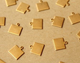 8 pc. Raw Brass Wyoming State Charms / Blanks: 10mm by 11mm - made in USA | RB-1047