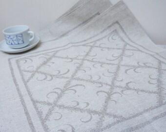 6 big Linen napkins grey large Doilies coaster flower set of six woven geometric mat square floral table placemat flax ecru taupe beige
