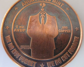 Bitcon - Anonymous 1 oz .999 Pure Copper Challenge Coin with Black Patina