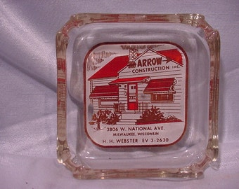 Advertising Ash Tray Arrow Construction National Ave, Milwaukee WI