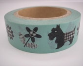 Scotty Dog Washi Tape with Flowers - Paper/Scrapbook Washi Tape - Scotty Dog Decorative/Crafting Tape - Packaging Supplies - 15mmx10m