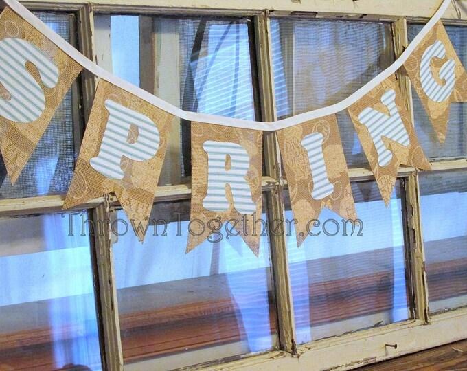 Spring Banner, Burlap Banner Spring Decoration, Easter Banner, Aqua Stripe Letters on Burlap Banner