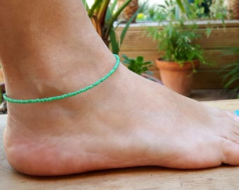 fondant green anklet beach surf vacation seed bead jewellery