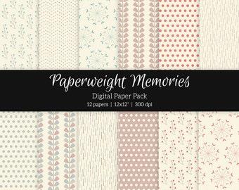 """Digital patterned paper - Floral Spring - digital scrapbooking - patterned paper - 12x12"""" 300dpi - Commercial Use"""