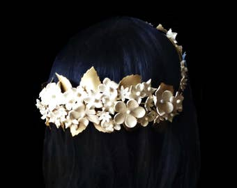 Bride cold porcelain crown. Flower crown. Bride accessories. Ivory and gold bridal hair. Wedding hair style. Bridesmaid accessories. Bridal