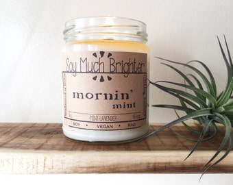Mornin' Mint: Lavender & Mint. Fresh scented candles, Vegan candles, Mint Candle, Summer Candle, Housewarming Gifts, Soy candles, Vegan Gift