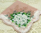 Vintage Hankie Soft Rose White Flowers #S20