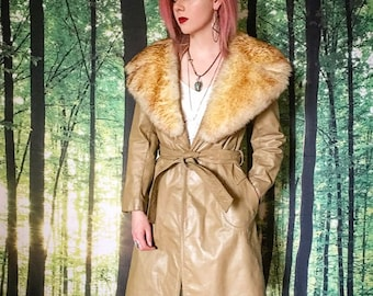 1970s Almost Famous Sheepskin Shearling Huge Fur Collar Taupe Leather Trench Coat