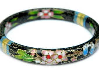Asian Cloisonné Enamel Bangle Bracelet Chinese Floral Design Pink Flowers Green Leaves On Black Vintage Jewelry Collectible For Women