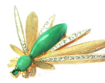 Wasp Bee Insect Pin 10K Gold Jade Green Glass Rhinestone Sparkle Brooch Jewelry Gift For Women Vintage Midcentury Gold Overlay Clear Green